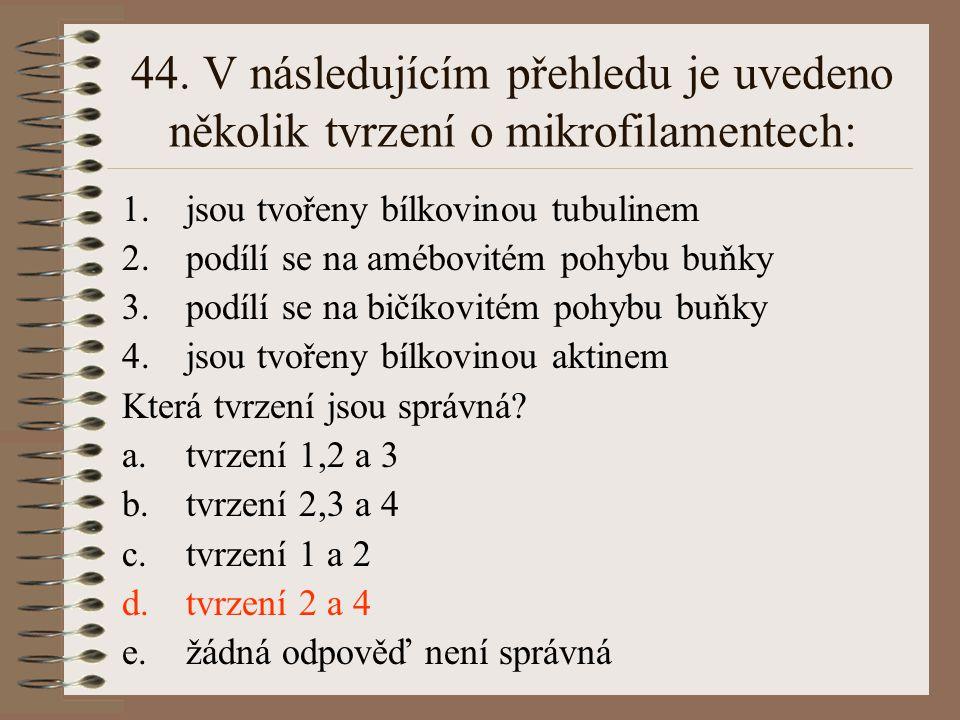 44. V následujícím přehledu je uvedeno několik tvrzení o mikrofilamentech:
