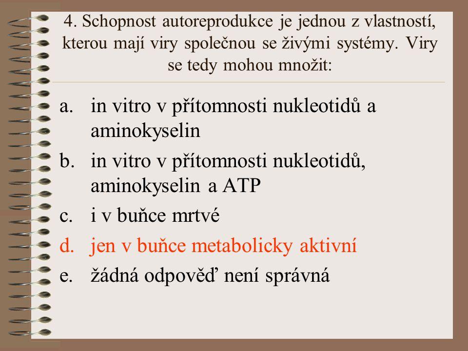 in vitro v přítomnosti nukleotidů a aminokyselin
