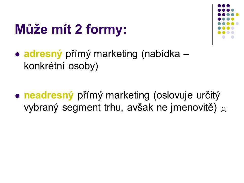 Může mít 2 formy: adresný přímý marketing (nabídka – konkrétní osoby)