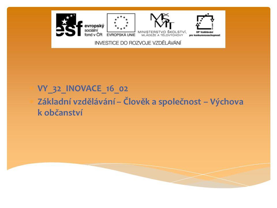 VY_32_INOVACE_16_02 Základní vzdělávání – Člověk a společnost – Výchova k občanství
