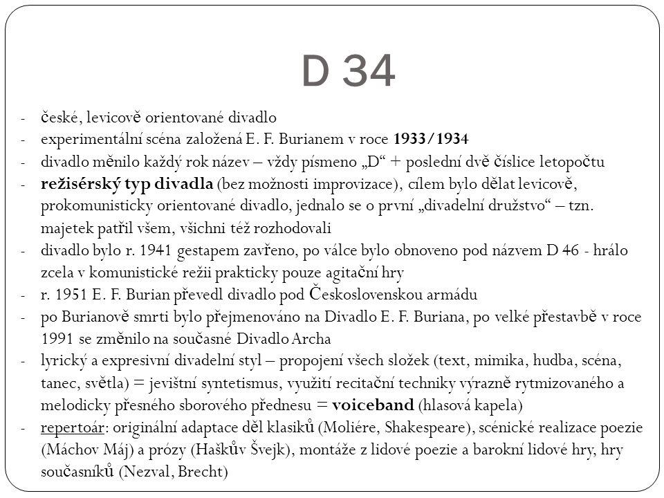D 34 české, levicově orientované divadlo