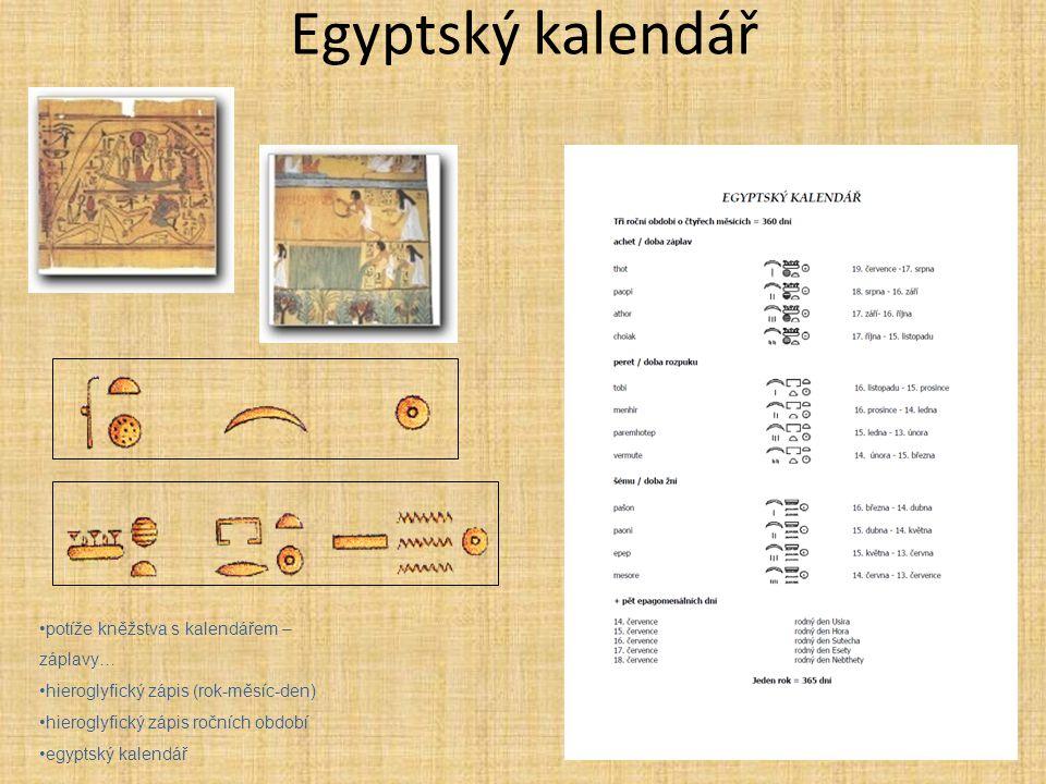 Egyptský kalendář potíže kněžstva s kalendářem – záplavy…