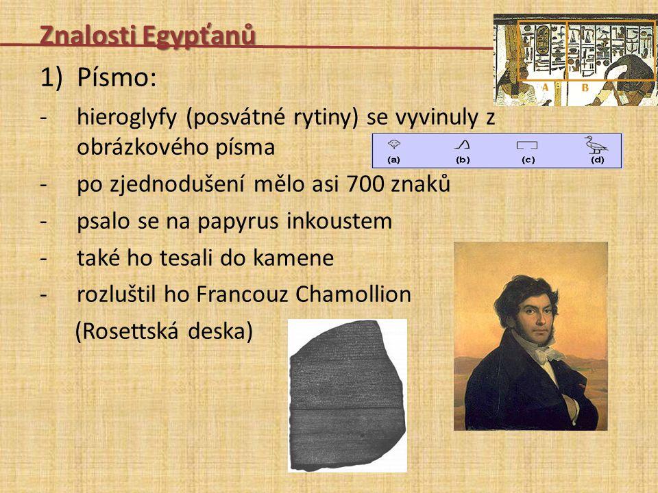 Znalosti Egypťanů Písmo:
