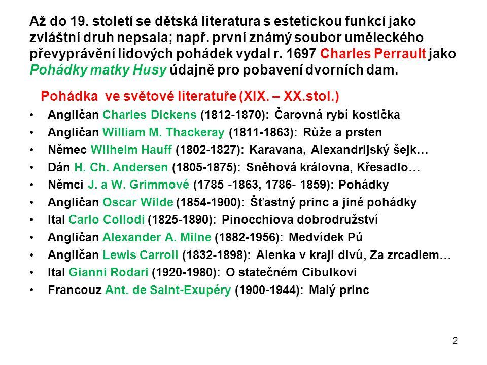 Pohádka ve světové literatuře (XIX. – XX.stol.)
