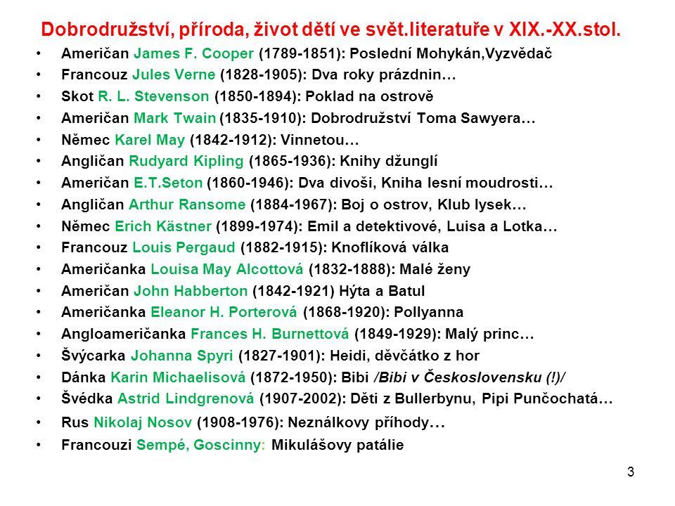 Dobrodružství, příroda, život dětí ve svět.literatuře v XIX.-XX.stol.