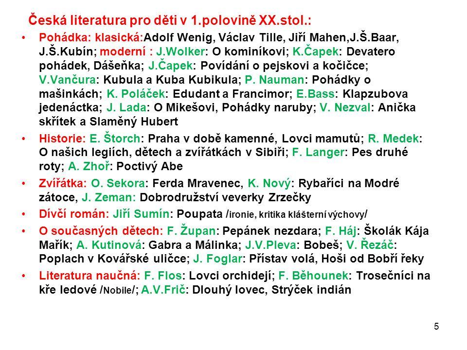 Česká literatura pro děti v 1.polovině XX.stol.: