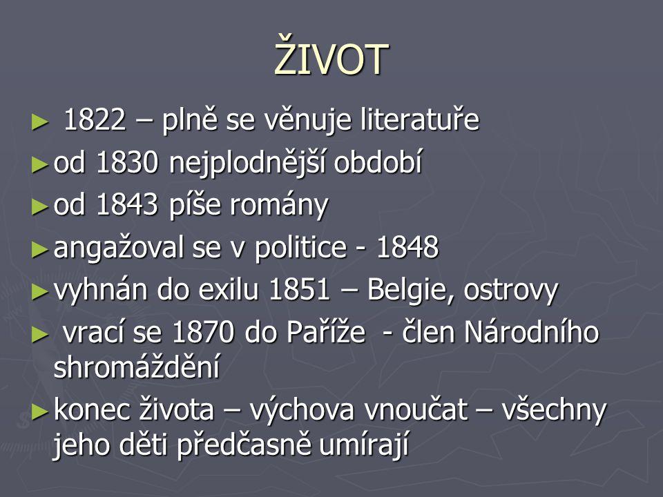 ŽIVOT 1822 – plně se věnuje literatuře od 1830 nejplodnější období