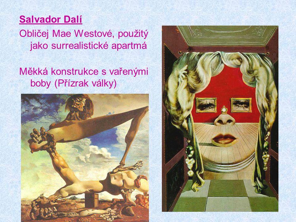 Salvador Dalí Obličej Mae Westové, použitý jako surrealistické apartmá.