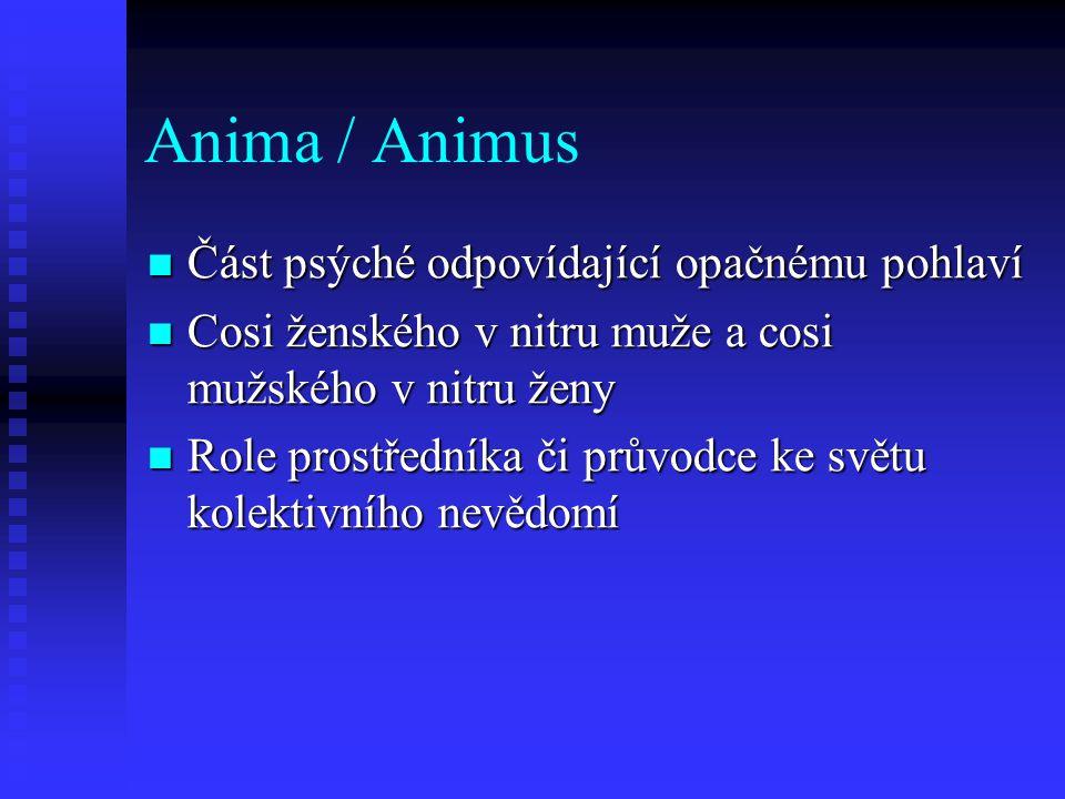 Anima / Animus Část psýché odpovídající opačnému pohlaví