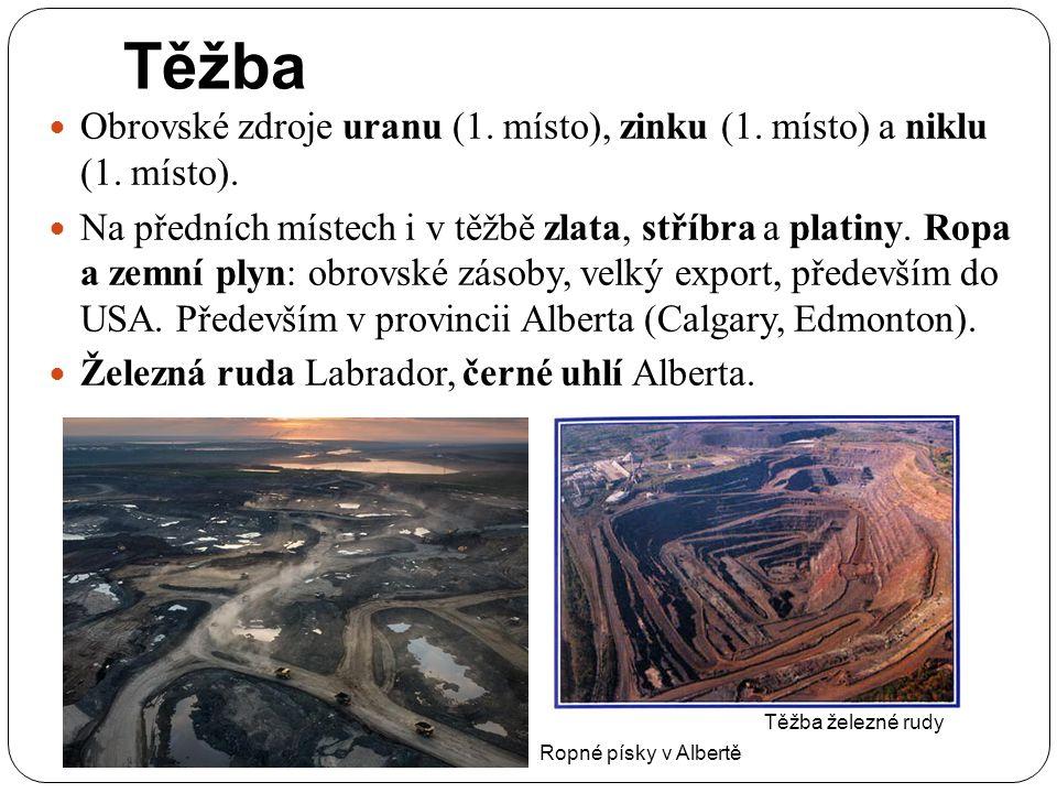 Těžba Obrovské zdroje uranu (1. místo), zinku (1. místo) a niklu (1. místo).