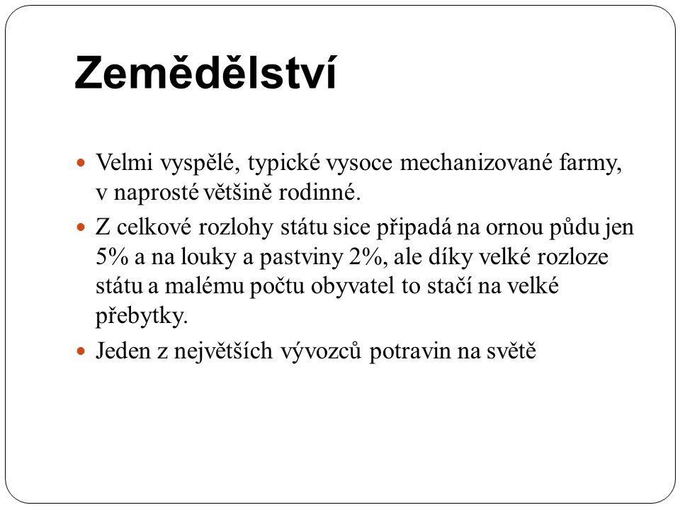 Zemědělství Velmi vyspělé, typické vysoce mechanizované farmy, v naprosté většině rodinné.