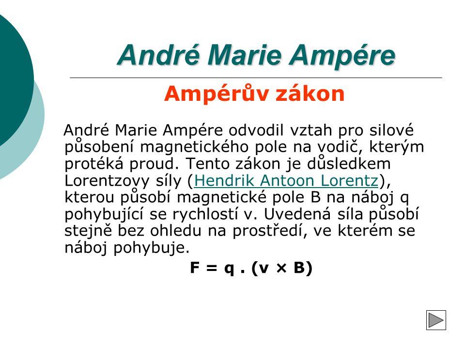 André Marie Ampére Ampérův zákon