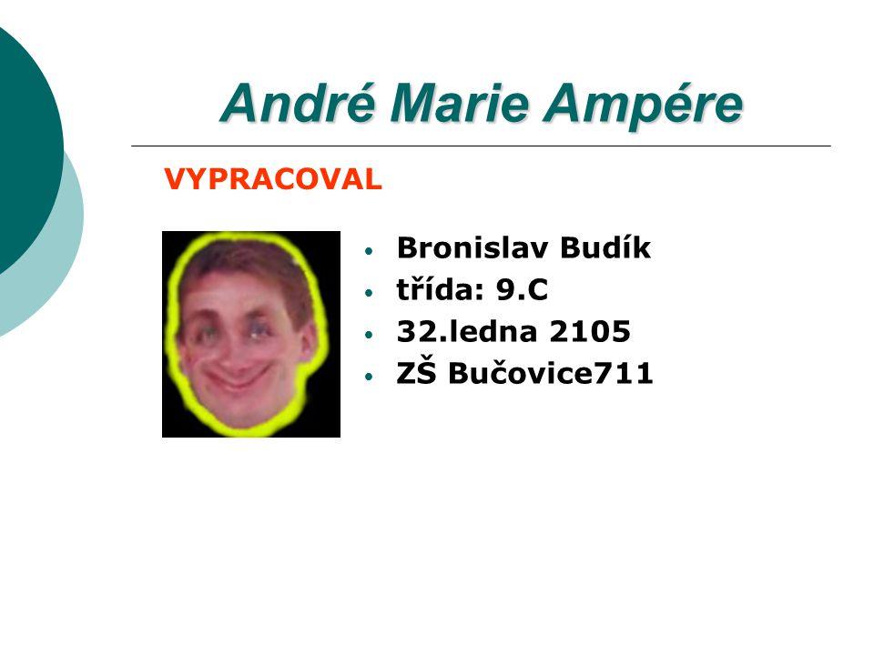 André Marie Ampére VYPRACOVAL Bronislav Budík třída: 9.C 32.ledna 2105