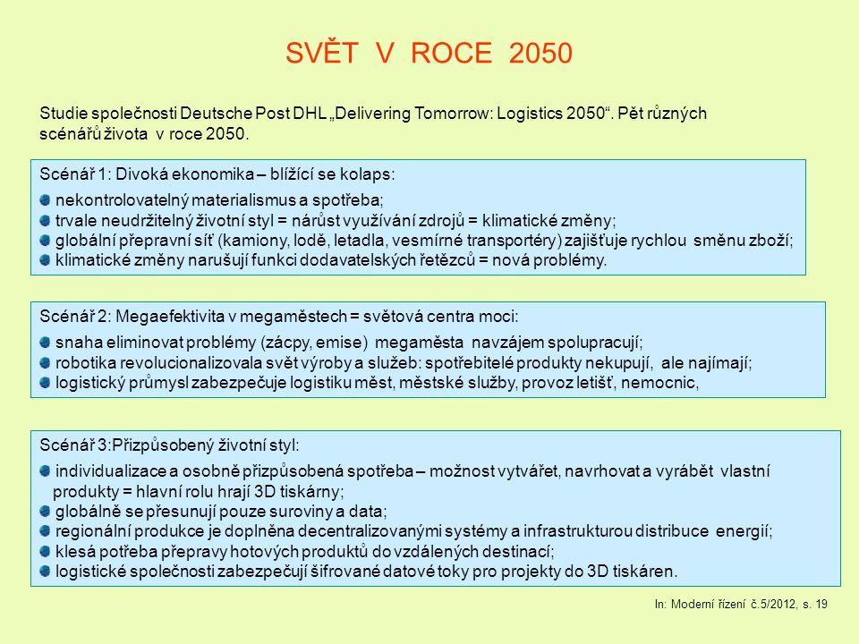 """SVĚT V ROCE 2050 Studie společnosti Deutsche Post DHL """"Delivering Tomorrow: Logistics 2050 . Pět různých."""