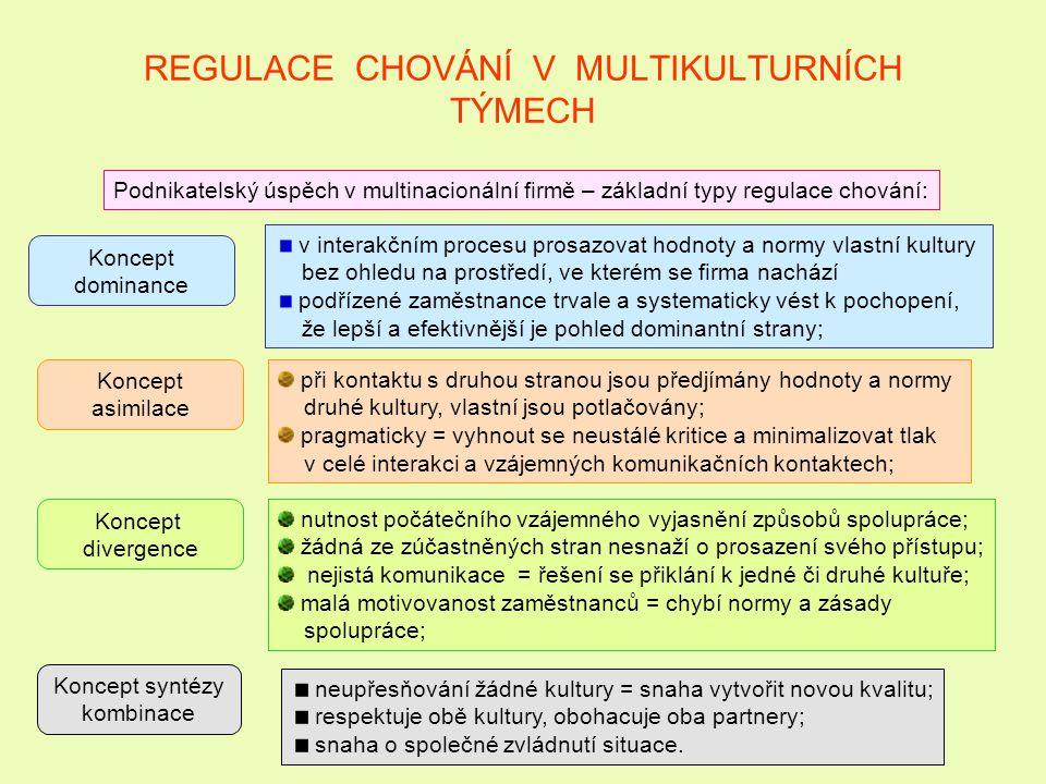 REGULACE CHOVÁNÍ V MULTIKULTURNÍCH TÝMECH