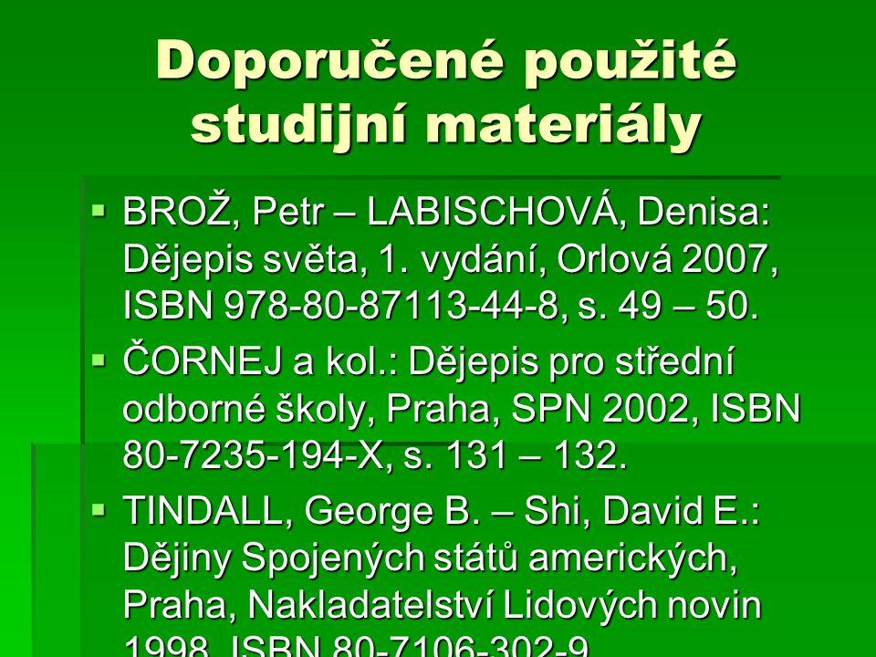 Doporučené použité studijní materiály
