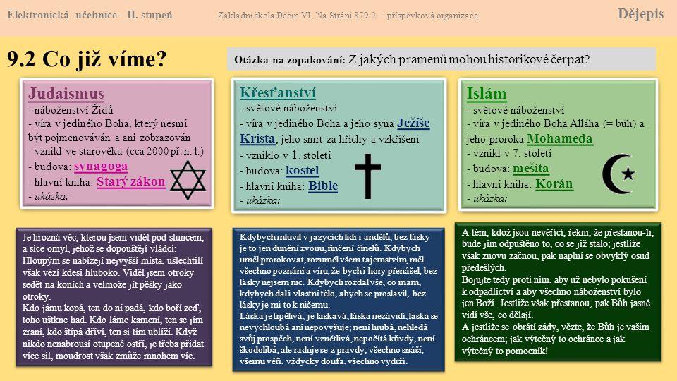 9.2 Co již víme Judaismus Islám Křesťanství