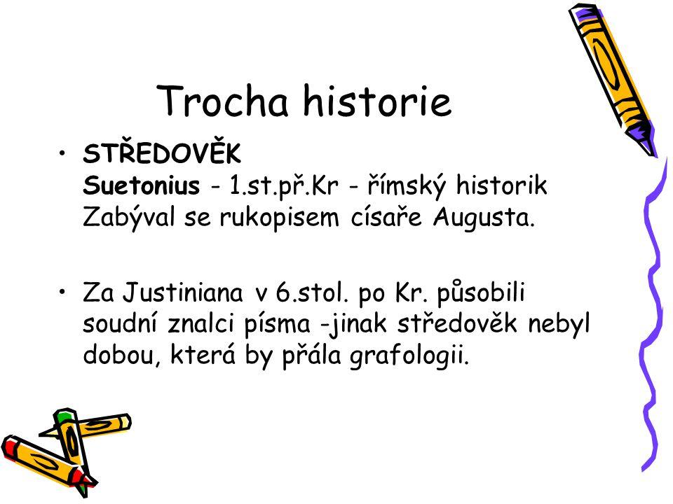 Trocha historie STŘEDOVĚK Suetonius - 1.st.př.Kr - římský historik Zabýval se rukopisem císaře Augusta.
