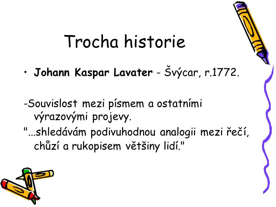 Trocha historie Johann Kaspar Lavater - Švýcar, r.1772.