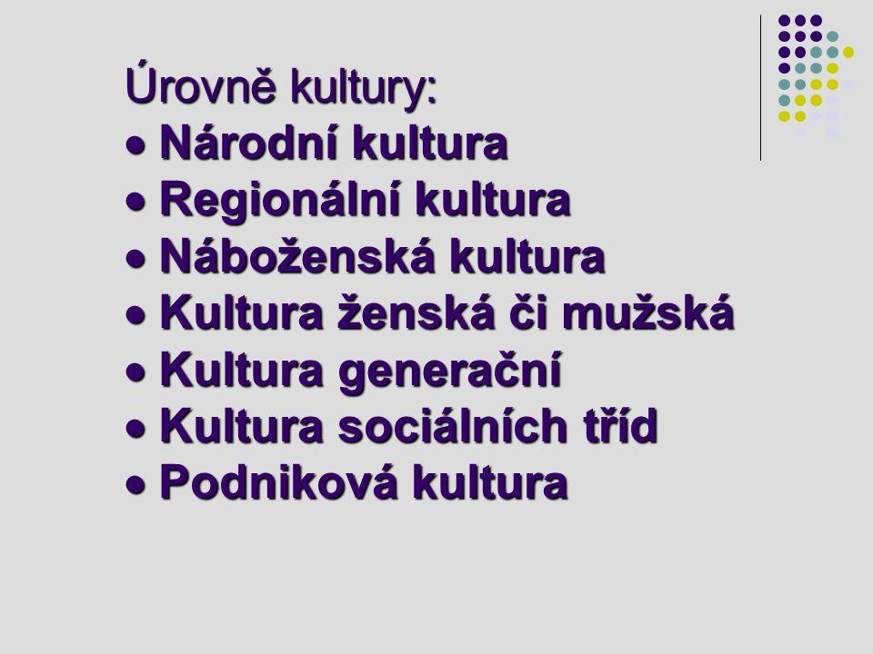 Úrovně kultury: · Národní kultura · Regionální kultura · Náboženská kultura · Kultura ženská či mužská · Kultura generační · Kultura sociálních tříd · Podniková kultura