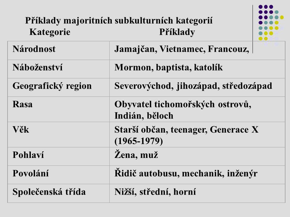 Příklady majoritních subkulturních kategorií