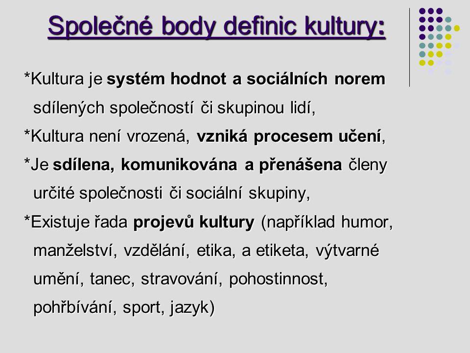 Společné body definic kultury: