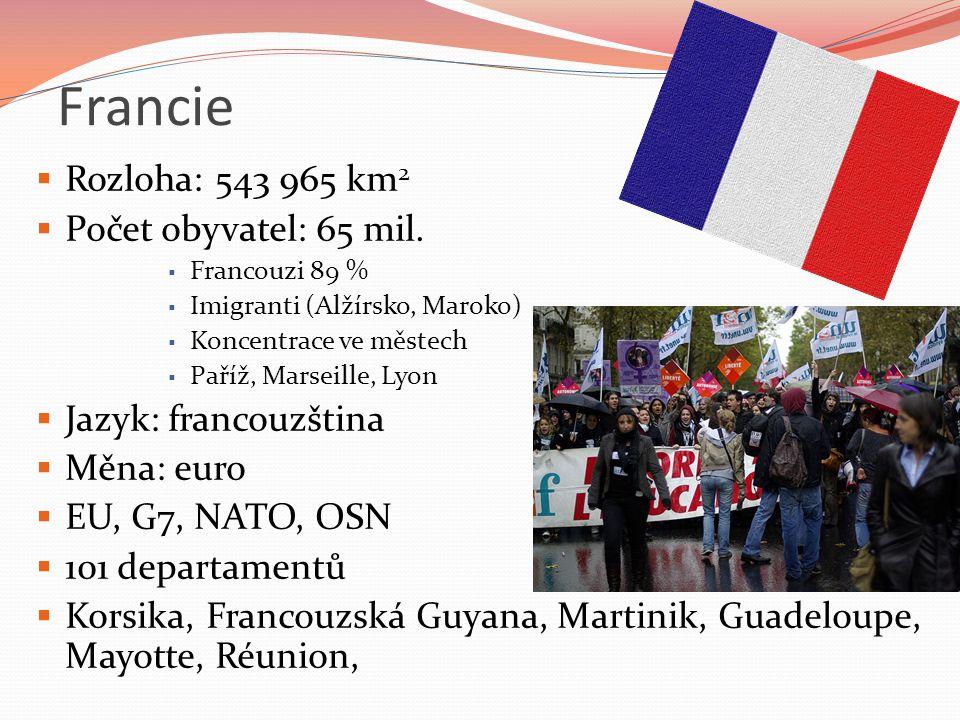 Francie Rozloha: 543 965 km2 Počet obyvatel: 65 mil.