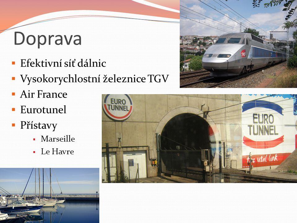 Doprava Efektivní síť dálnic Vysokorychlostní železnice TGV Air France
