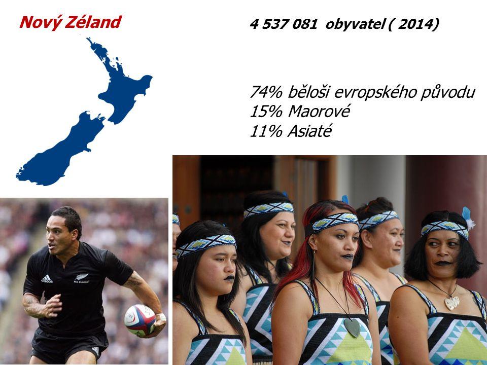 74% běloši evropského původu 15% Maorové 11% Asiaté