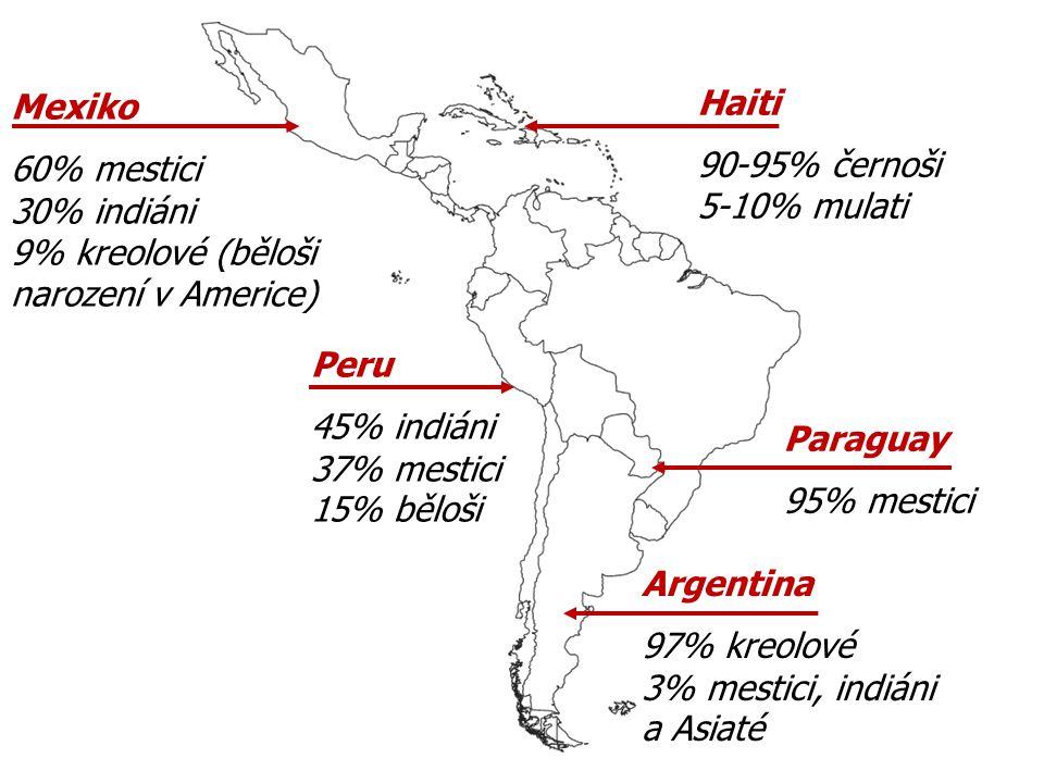 Mexiko 60% mestici 30% indiáni 9% kreolové (běloši narození v Americe)