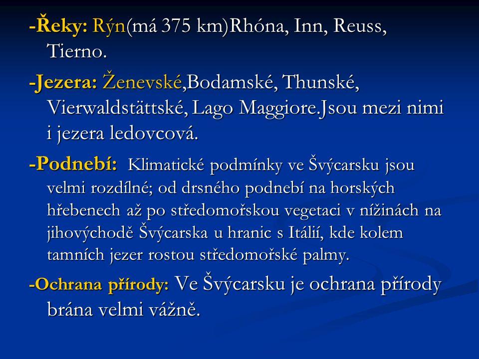-Řeky: Rýn(má 375 km)Rhóna, Inn, Reuss, Tierno.