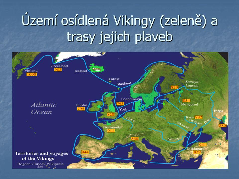 Území osídlená Vikingy (zeleně) a trasy jejich plaveb