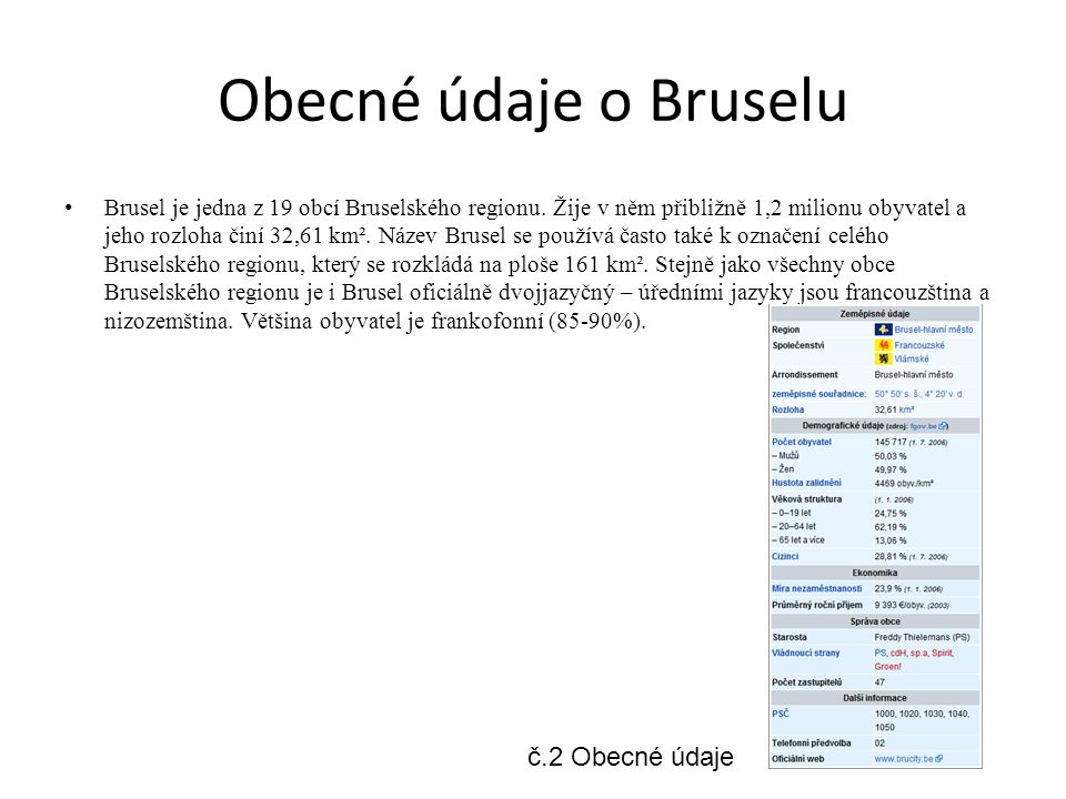 Obecné údaje o Bruselu č.2 Obecné údaje