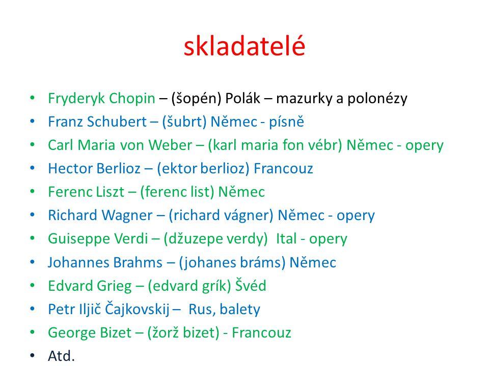 skladatelé Fryderyk Chopin – (šopén) Polák – mazurky a polonézy