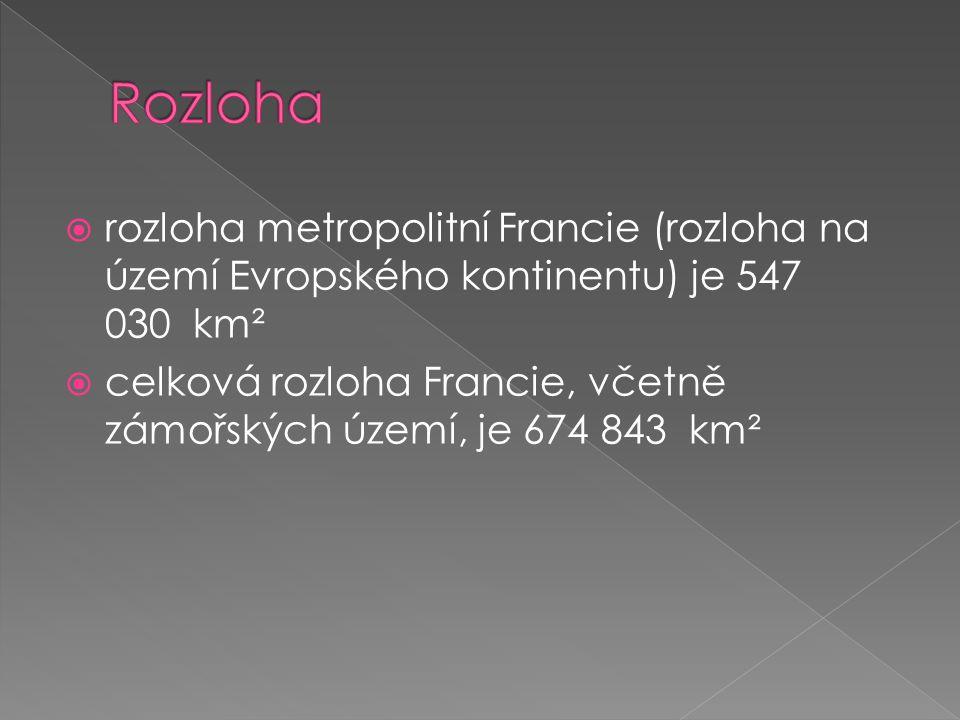 Rozloha rozloha metropolitní Francie (rozloha na území Evropského kontinentu) je 547 030 km².