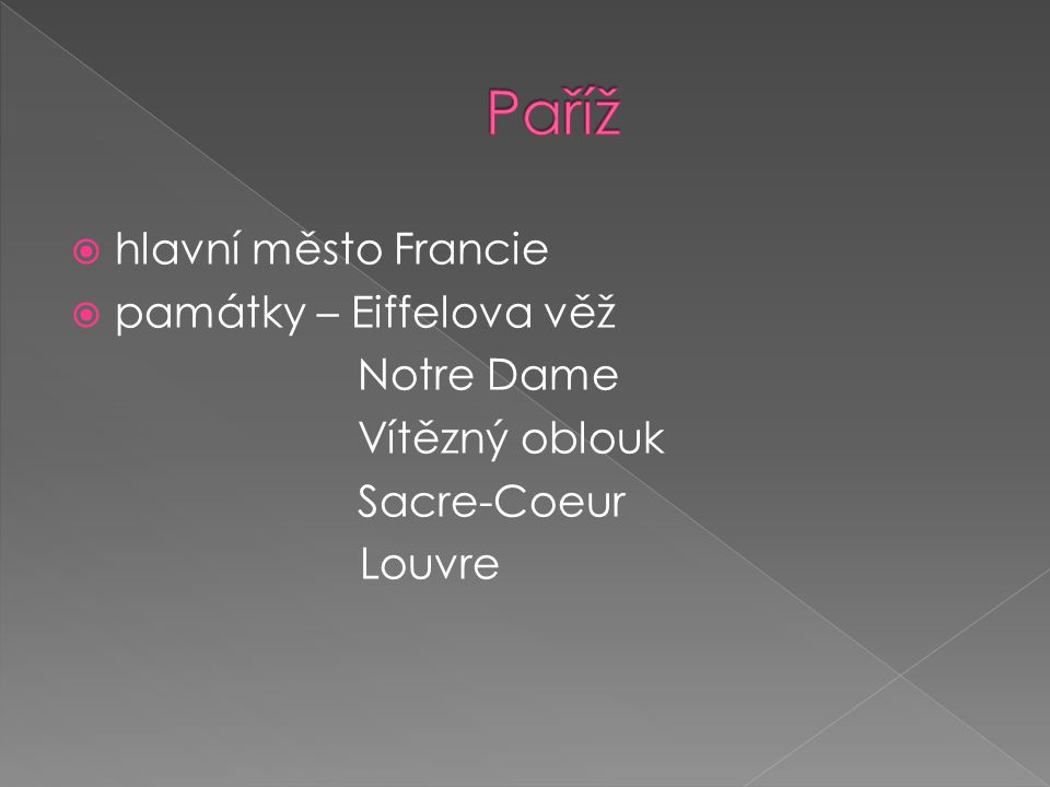 Paříž hlavní město Francie památky – Eiffelova věž Notre Dame
