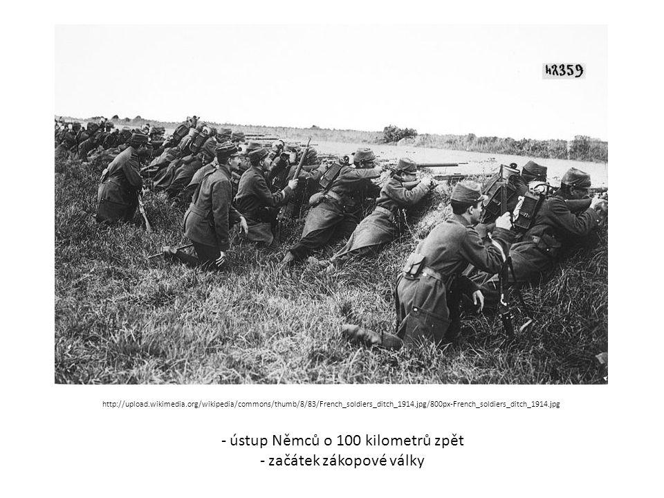 ústup Němců o 100 kilometrů zpět začátek zákopové války