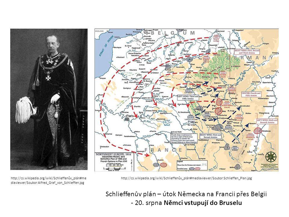 Schlieffenův plán – útok Německa na Francii přes Belgii