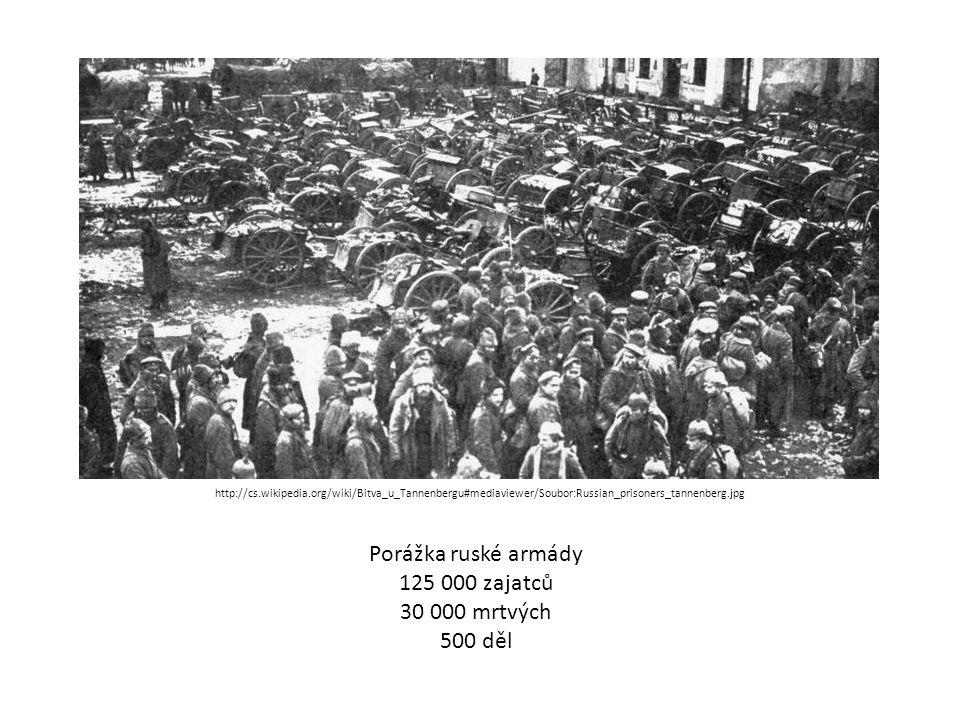 Porážka ruské armády 125 000 zajatců 30 000 mrtvých 500 děl