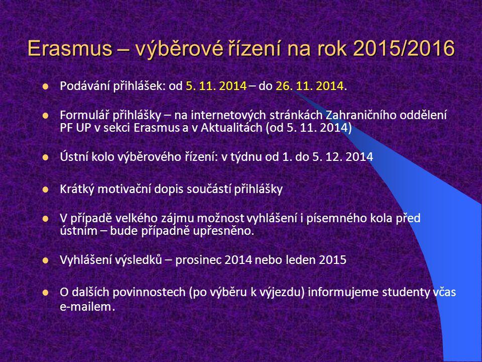 Erasmus – výběrové řízení na rok 2015/2016