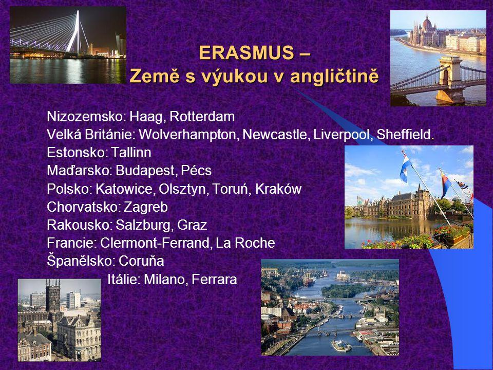 ERASMUS – Země s výukou v angličtině