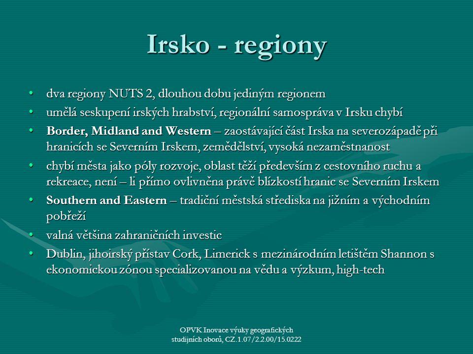 Irsko - regiony dva regiony NUTS 2, dlouhou dobu jediným regionem