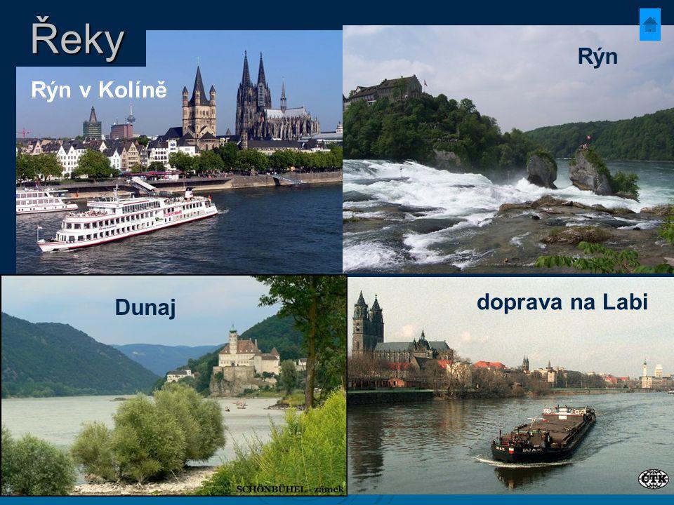 Řeky Rýn Rýn v Kolíně Dunaj doprava na Labi