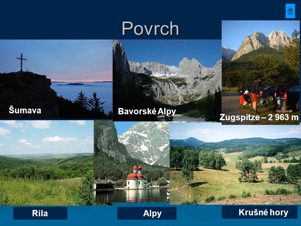 Povrch Zugspitze – 2 963 m Šumava Bavorské Alpy Rila Alpy Krušné hory