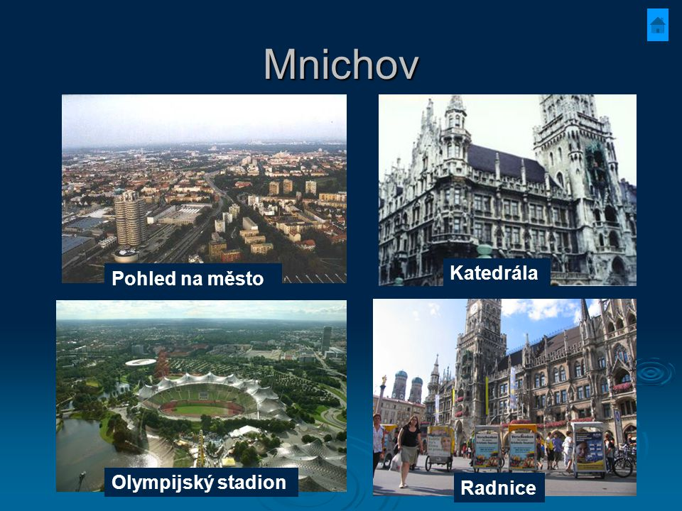 Mnichov Pohled na město Katedrála Olympijský stadion Radnice