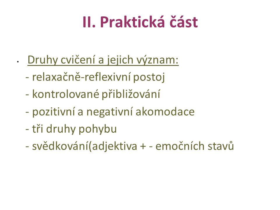 II. Praktická část Druhy cvičení a jejich význam: