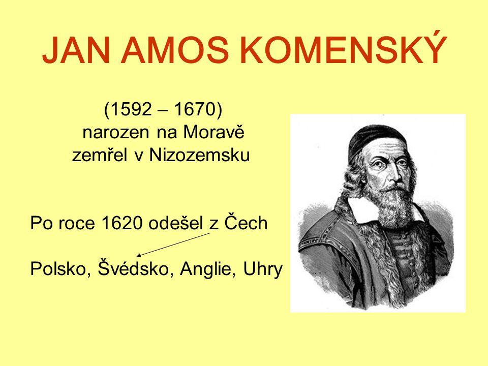 JAN AMOS KOMENSKÝ (1592 – 1670) narozen na Moravě zemřel v Nizozemsku