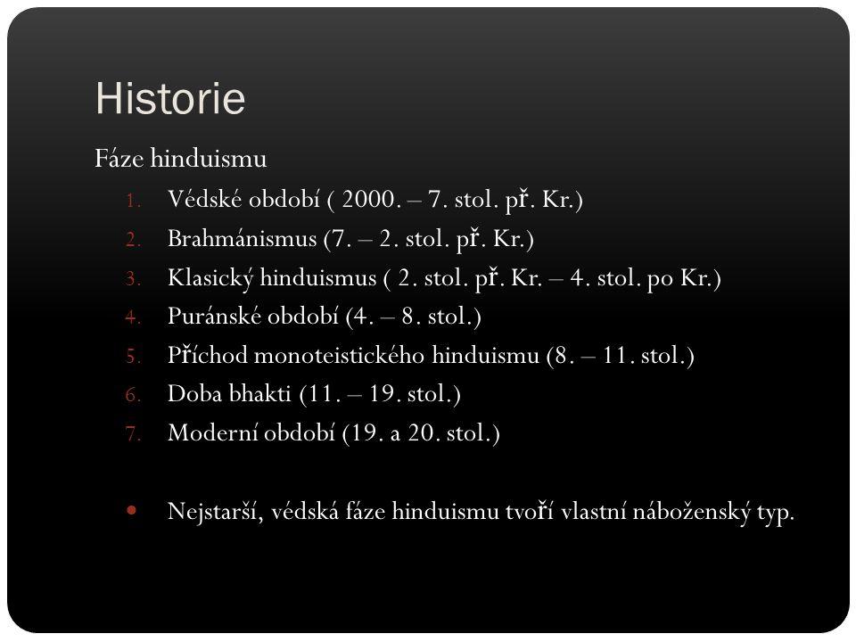 Historie Fáze hinduismu Védské období ( 2000. – 7. stol. př. Kr.)