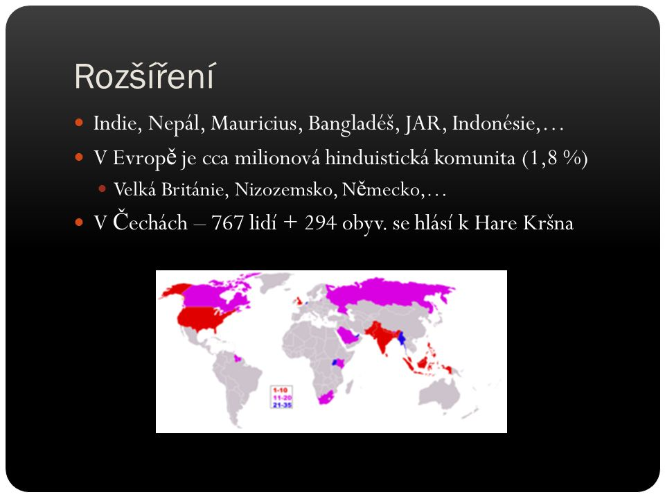 Rozšíření Indie, Nepál, Mauricius, Bangladéš, JAR, Indonésie,…