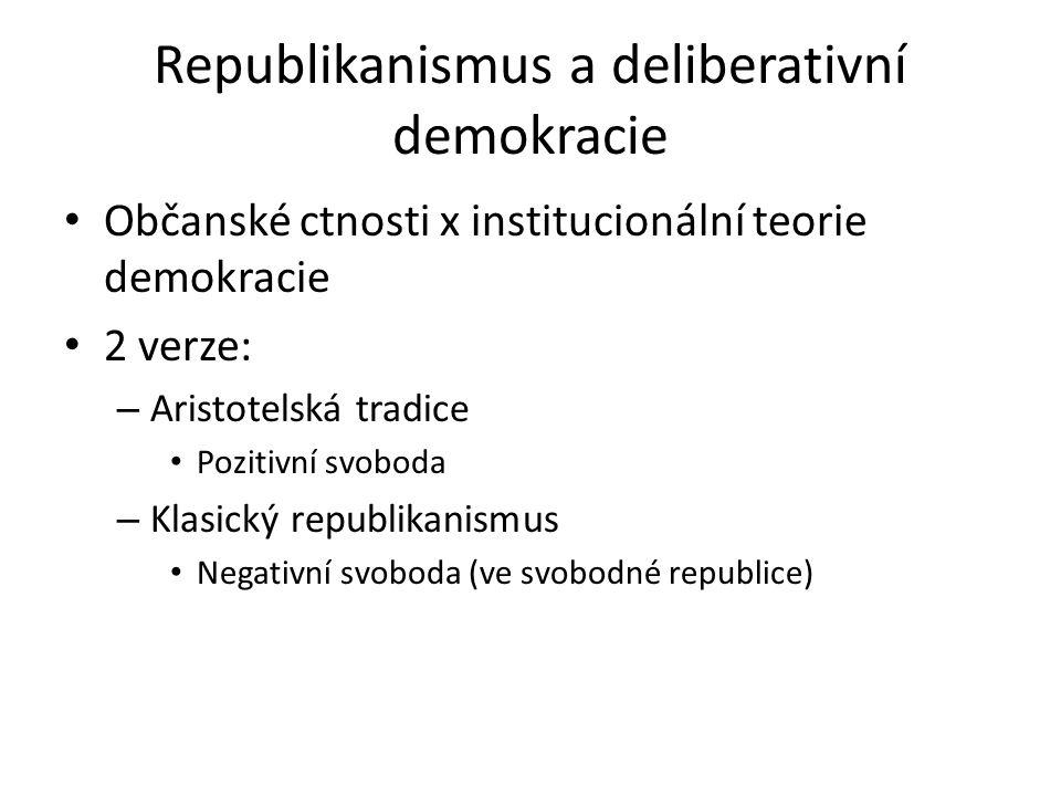 Republikanismus a deliberativní demokracie